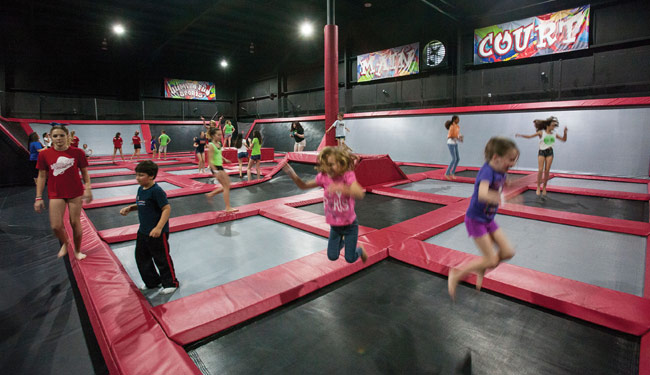 Jumpin' Fun Sports trampoline park uses BEAM virtual playgrounds as an attraction